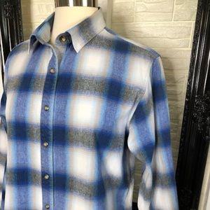 POWDER RIVER Women's Blue Plaid Snap Down Shirt